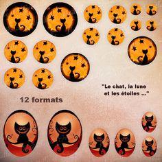 """images digitales pour cabochon thème Halloween """" le chat, la lune et les étoiles """" 2 modèles - - 12 formats - à imprimer : Images digitales pour bijoux par patouille-et-gribouille"""