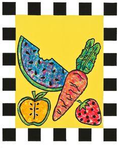 Fruit Veggie & Checkers  8x10 print  Black and by modpretties.