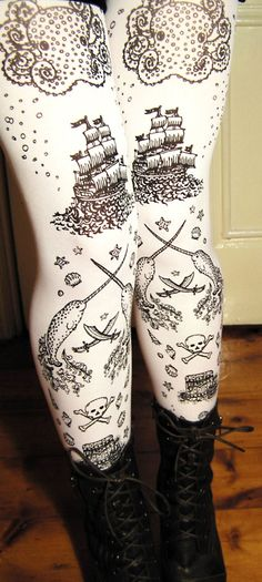 White hand painted pirate tights from Teja Jamilla.