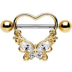 14 Gauge Clear CZ Steel Hold My Heart Butterfly Nipple Shield Bellybutton Piercings, Cute Ear Piercings, Body Piercings, Septum, Cute Jewelry, Jewelry Bracelets, Nipple Rings, Belly Rings, Tattoos