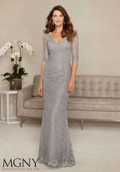 Allover Lace with Beaded Appliqué Evening Gown/Mother of the Bride Dress Designed by Madeline Gardner. Colors available: Black/Nude, Silver.