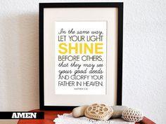 Matthew 5:16. Nursery Decor. Let your light shine. 8x10 Printable Christian Poster.Bible Verse.