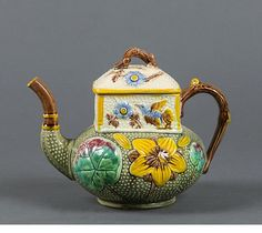Unidentified, probably Continental Majolica Asian inspired teapot.