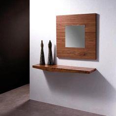 Recibidor en madera con espejo cuadrado a juego