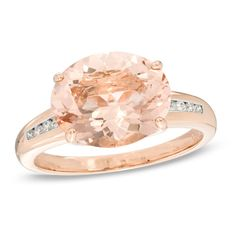 Oval Morganite and Diamond Accent Ring in 14K Rose Gold - Size 7