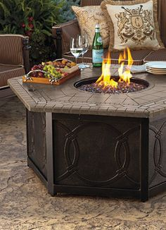 Warm your outdoor conversation area with flickering firelight all summer long.