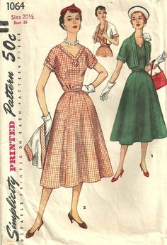 Simplicity 1064 Vintage 50s Half Size Sewing by studioGpatterns, $14.50
