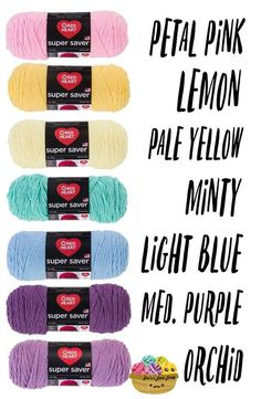 Red Heart Super Saver Pastel Rainbow Yarn Shopping List