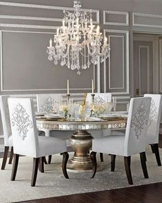 Maria Theresa Large Crystal Chandelier Plus An Elegant Table And Chairs. A  Very Opulent Setting