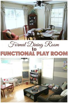 Formal Dining Room to Functional Play Room | TheTurquoiseHome.com.