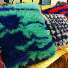 Incredible fox fur pillows from the design studio at Centria University in Finland.