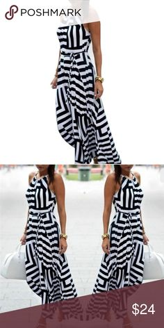 """Black & White Striped Sleeveless Summer Dress Black & White Striped Sleeveless Summer Dress. Features a waist tie / sash. Material: polyester.  Best in Boutiques Host Pick 4/19! Small: bust 36 ¼"""", waist 40"""", Length 47 ¼"""". Medium: bust 37"""", waist 41 ¾"""", length 48"""". Large: bust 37 ¾"""", waist 42 ½"""", length 48 ¾"""". Extra Large: bust 38 ½"""", waist 43 ¼, length 49 ½"""". Dresses Maxi"""