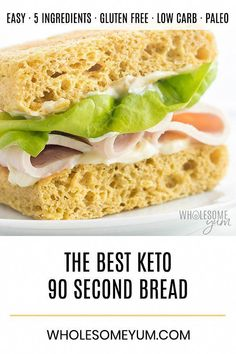 Keto 90 Second Bread with Almond Flour and psyllium husks- Low Carb Recipe - A keto 90 second bread recipe with 5 ingredients! This low carb 90 second bread with almond flour is chewy, with texture like real bread. Keto Foods, Ketogenic Recipes, Low Carb Recipes, Cooking Recipes, Healthy Recipes, Keto Meal, Keto Bread Coconut Flour, Keto Banana Bread, Coconut Oil