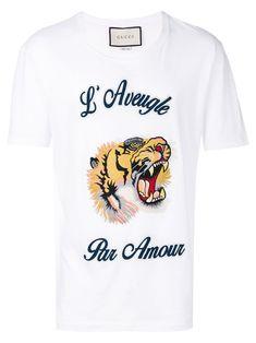 Gucci L'aveugle Par Amour Cotton-jersey T-shirt In White Multi White Short Sleeve Shirt, Short Sleeves, Mens White Shorts, Gucci Men, Gucci Gucci, Gentleman Style, T Shirt, Menswear, Mens Tops