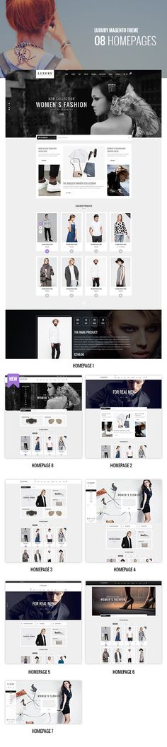 Luxury Premium Fashion Magento theme is an excellent layout for a modern and clean eCommerce store with blog, portfolio, store locator and other useful pages Luxury design lets your goods look simple and sophisticated at the same time. With more than 7 layouts predefined and Frontend builder integrated, Luxury will meet & fit any kind of eCommerce sites as you imagine.