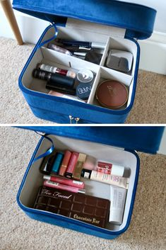 This Beautify blue velvet vanity case is perfect to store makeup or jewellery in a bedroom. {Gifted-Ad} some of the products mentioned were gifted by Beautify Grey Upholstered Bed, French Pharmacy, Diptyque Candles, Make Up Storage, Beautiful Posters, Makeup Essentials, Guest Bedrooms, Best Face Products, Makeup Organization