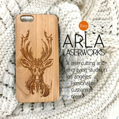 Laser Engraved Wood iPhone Case - Engraved Ornate Detailed Hipster Deer with Antlers iPhone Case - Custom Wood iPhone Cases - Available for iPhone 4, iPhone 5, iPhone 5c, iPhone 6, iPhone 6 Plus, and Galaxy S4. Click image to view listing! Great Holiday Gift for Women and Girls!