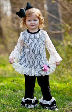 e63010478e Peaches n Cream Holiday Ivory Black Lace Velour Pant set Girls 12m-6x -  Color Me Happy Boutique