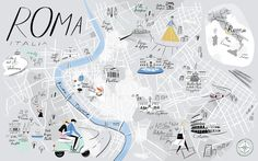 """A Map of Rome for Katie and Giancarlo Caldesi's upcoming Italian Cookbook, """"A Taste of Rome,"""" by Libby Vanderploeg"""