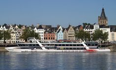 MS ReheinEnergie cruise ship on the Rhine river. Throughout The World, Trade Show, Cruise, Cologne Germany, River, Ship, Mansions, Architecture, House Styles