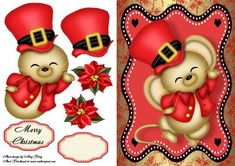 """Cute Christmas Mouse on Craftsuprint designed by Amy Perry - Cute Christmas Mouse in lovely red and black frame with decoupage and choice of tag """"Merry Christmas"""" and a blank tag for your own sentiment."""