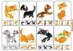 Ça fait travailler la discrimination visuelle , la motricité fine et l'association petit / grand .8 cartes à pincer à télécharger L'enfant doit placer une pince à linge sur l'une des 3 petite photo en bas et qui est identique à la grande image du chat