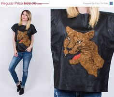 Vintage 80s black leather top with panther by VonVixenVintage.