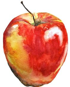Watercolor Apple Print 8x10 | Etsy