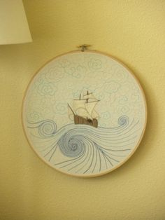 Ship of Dreams  Hand Embroidery Pattern by AllysAtticKnits on Etsy, $2.50