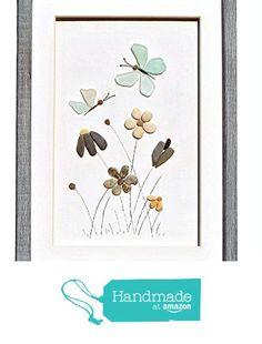 Genuine sea glass butterflies and pebble flowers, Pebble art home décor, Seaglass art new home or housewarming gift, Unique framed wall art gift from Pebble Art Dream http://www.amazon.com/dp/B016ET2N3M/ref=hnd_sw_r_pi_dp_Ofvgwb0130GFF #handmadeatamazon