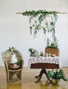 Bohemian Cake Table. Bohemian Picnic elopement. Indoor loft space transformed into the perfect botanical boho picnic for two.