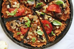 Raw Vegan Pizza with Red Pepper Flax Crust | One Green Planet