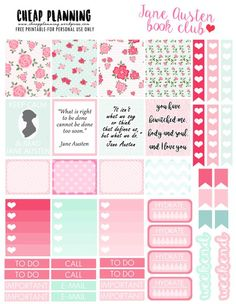 Free Printable Jane Austen Stickers for your planner!