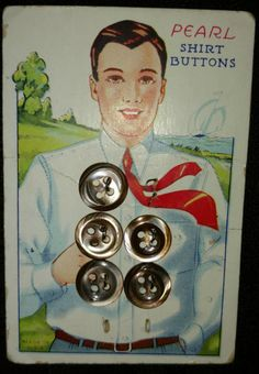 Vintage 1930s Abalone Shirt Buttons Original Graphic Card