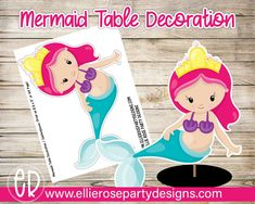 Mermaid Centerpieces | Mermaid Party Decorations | Table Decorations | Under The Sea | Character Cutouts | Table Centerpieces Birthday Party At Home, Birthday Party Games For Kids, Birthday Party Themes, Decoration Table, Table Centerpieces, Mermaid Party Decorations, Seas, Doodles, Printable