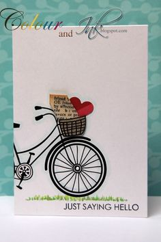 Just saying Hello by: Colour_and_Ink Hero Art's Bicycle Flower modified with newspring DSP & a punched heart in the basket.
