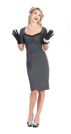 The perfect blend of class and sophistication, the Ava dress is just stunning in the grey knit fabric. Featuring a 1940's silhouette with A-Line skirt and turn cuff sleeves. A demure portrait neckline and matching sash make it perfect for work or play. You'll find wearing the Ava will garner more attention than you ever expected.   lolitagirlclothing.com