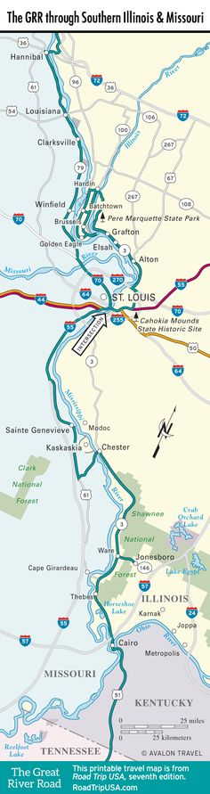 Map of the Great River Road through Southern Illinois, Iowa, and Missouri.