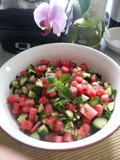 Watermelon and Cucumber Mint Salad- I used yellow watermelon and added fresh squeezed lime juice, a pinch of coarse salt, and one seeded diced jalapeno.