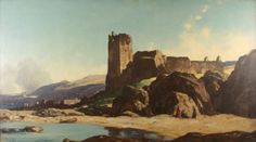 Morning Dunure by Sir David Young Cameron (1865 - 1945)   Oil on Canvas   Size: 45.7 x 86.3 cm   Gracefield Arts Centre