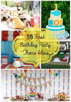 10 First Birthday Party Theme Ideas for Baby - Rainbow Party, Jungle Theme, Cat in the Hat, Woodland Theme and more