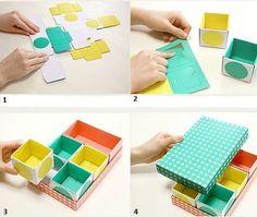 Que tal uma maneira super #fácil, #barata e #prática de #organizar ainda melhor a sua #mesa de trabalho ou estudo? #Façavocêmesmo desenhe ou imprima um molde de caixa no papel, monte as caixas e junte-as como quiser! <3