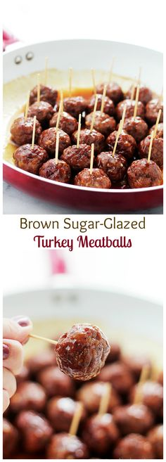 Low Unwanted Fat Cooking For Weightloss These Brown Sugar-Glazed Turkey Meatballs Pack A Bite-Size Punch Of Sweet And Spicy, Juicy And Delicious Everyone Requests These On Game-Day. Finger Food Appetizers, Yummy Appetizers, Appetizer Recipes, Dinner Recipes, I Love Food, Good Food, Yummy Food, Brown Sugar Glaze, Turkey Glaze