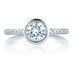 Round Architectural Bezel Engagement Ring