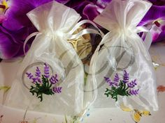 "12- 4""x6"" White with Lavender embroidered favor seed White Favor Fabric Bags"