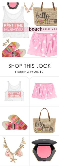 """""""Beach cover-ups"""" by simona-altobelli ❤ liked on Polyvore featuring Moschino, Havaianas, Straw Studios, H&M, Annoushka, MyStyle, polyvorecontest and coverups"""