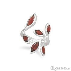 Wholesale Sterling Silver Jewelry | Silver Stars Collection Wrap Around Garnet Ring
