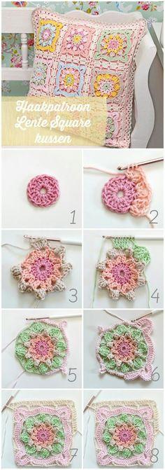 Popcorn Kare Motifli Kırlent Yapılışı - picture for youBlooming Crochet Garden Pillow Free Pattern NOTE:try this is crochet thread!Spring Square Cushion Free Crochet Pattern ☂ᙓᖇᗴᔕᗩ ᖇᙓᔕ☂ᙓᘐᘎᓮ http:/Discover thousands of imag Motifs Granny Square, Crochet Motifs, Crochet Blocks, Granny Square Crochet Pattern, Crochet Squares, Crochet Stitches, Crochet Doilies, Doilies Crafts, Crochet Diy