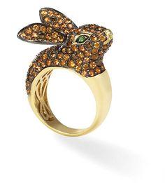 Hop Hop 18k Gold Orange Sapphire and Champagne Diamond Bunny Rabbit Ring with Tsavorite Eyes