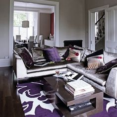 Purple And Grey Decor | Love This Carpet! And The Grey Velvet Sofa, This · Living  Room ...